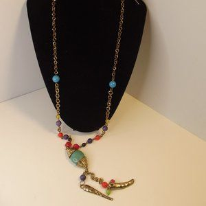 Multi color pendant necklace & matching earrings